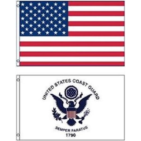 WholesaleWalmartbo LOT 3' X 5' USA AMERICAN & US Coast Guard 2 FLAG Banner 3X5 PREMIUM Vivid Color and UV Fade BEST Garden Outdor Decor Resistant Canvas Header and.., By
