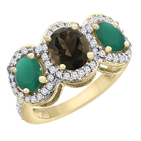 14K Yellow Gold Natural Smoky Topaz & Cabochon Emerald 3-Stone Ring Oval Diamond Accent, size 5
