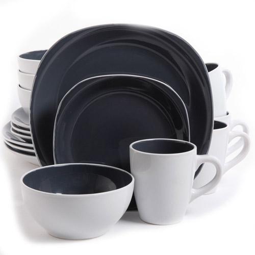 Gibson Home 16-Piece Cadence Square Gray Dinnerware Set