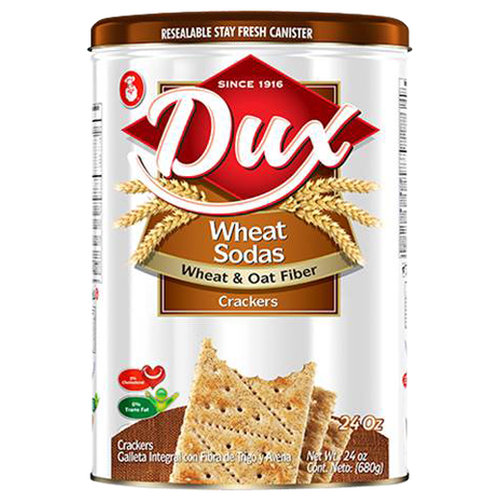 Dux Saltines Wheat Sodas Wheat & Oat Fiber Crackers, 24 oz