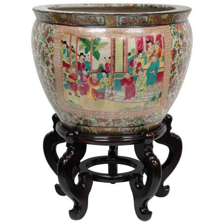Oriental Home Porcelain 16-inch Rose Medallion Fishbowl (Chinese Rose Medallion Porcelain)