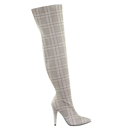 Magnolia08 by Anne Michelle, Thigh High Over The Knee Boots Heel Pointed Heel Elastic Shaft