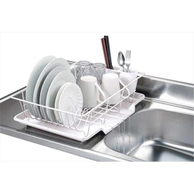 Home Basics 3 Piece Dish Drainer Set, White