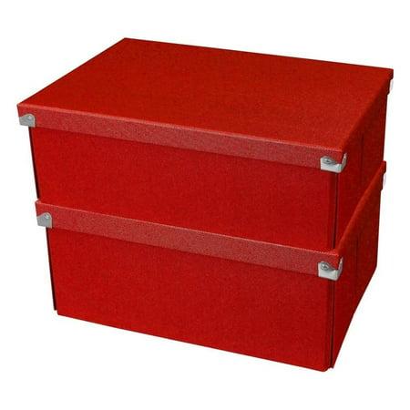 Samsill Pop n' Store Medium Document Box - 2 Pack - Red - 12.75