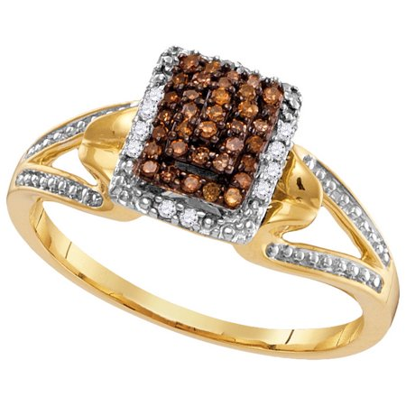Size - 7 - Solid 10k White and Yellow Two Toned Gold Round Chocolate Brown And White Diamond Engagement Ring OR Fashion Band Channel Set Emerald-Shape Shaped Halo Ring (.18 cttw)