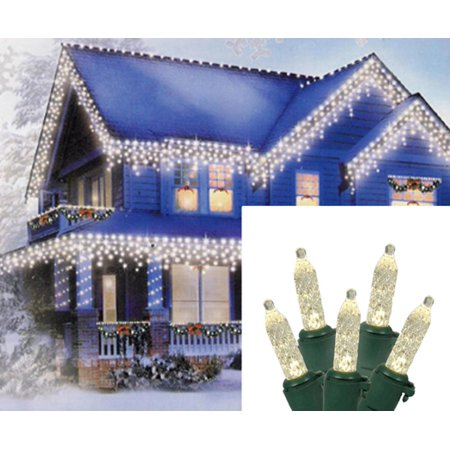 - Set of 70 Warm White LED M5 Icicle Christmas Lights – Green Wire
