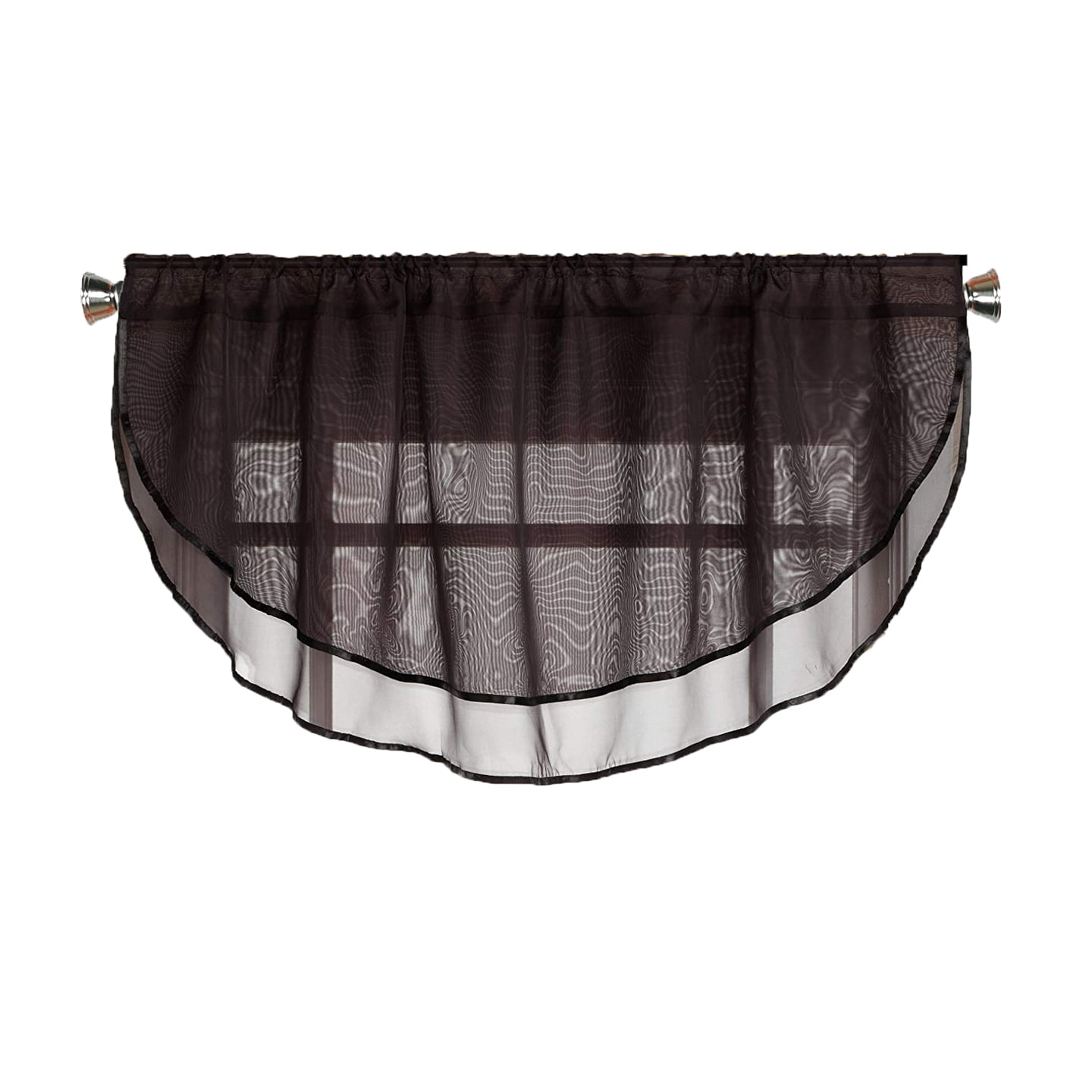 Sheer Voile Valance Curtain For Windows Size 54 In X 24 In Scalloped With Ribbon For Kitchens Living Room Dining Room Bathroom Bay Windows Basement Laundry Room Black Walmart Com Walmart Com