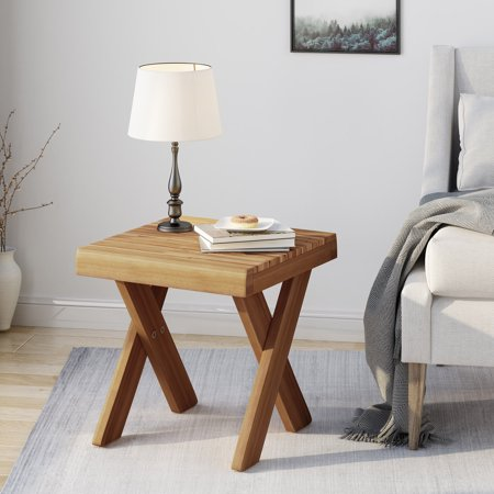 Noble House Indoor Farmhouse Acacia Wood Side Table, Teak ...