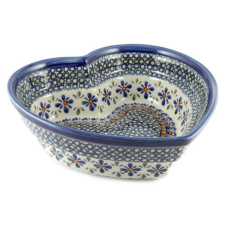 Polish Pottery Mosaic Flower Large Heart Bowl
