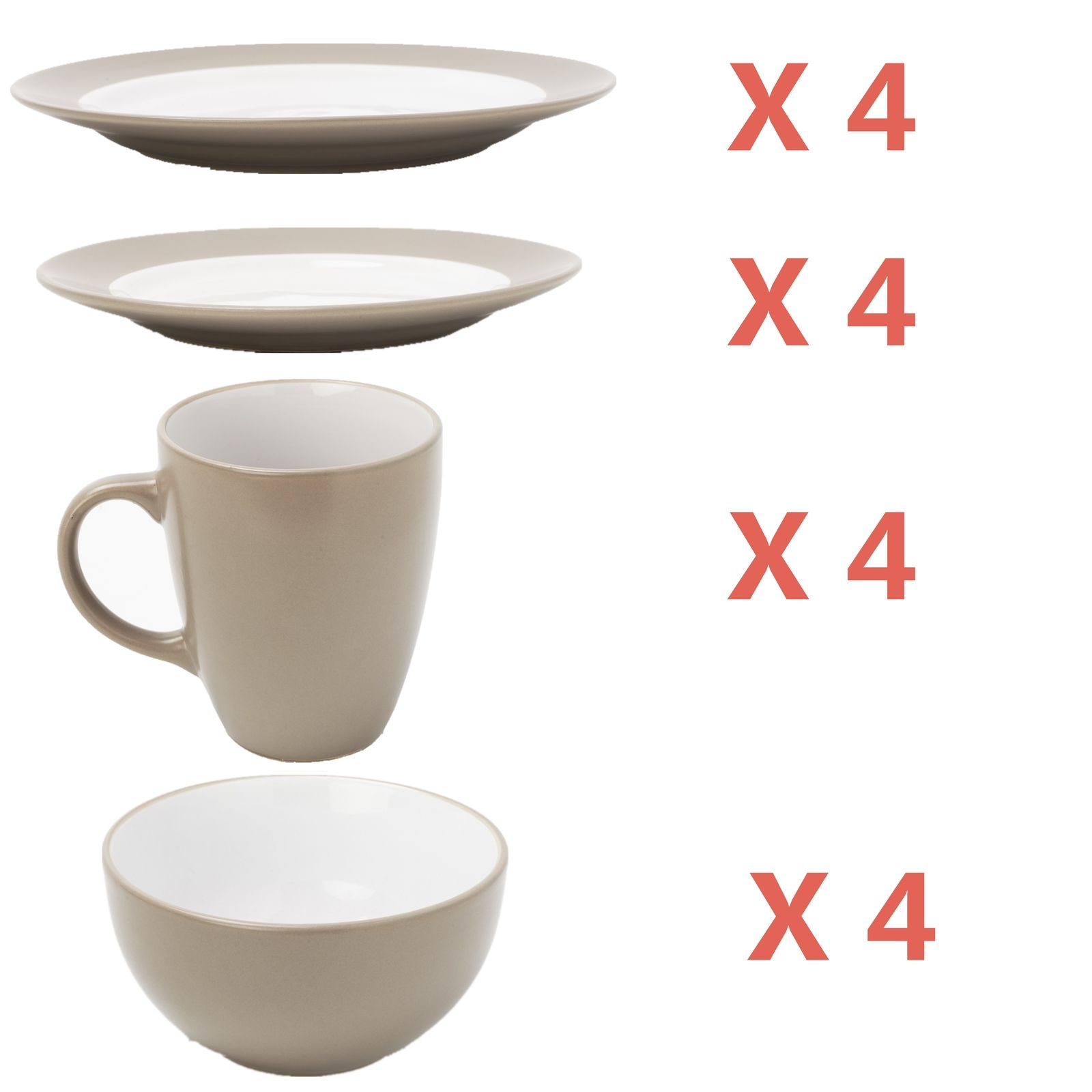 Zeny 16 Piece Round Dinnerware Set 4 Plates Dishes Bowls Cups for KitchenGray  sc 1 st  Walmart.com & Zeny 16 Piece Round Dinnerware Set 4 Plates Dishes Bowls Cups for ...