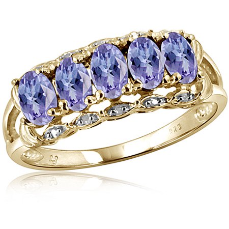 JewelersClub 1.20 Carat Tanzanite Gemstone and 1/20 Carat White Diamond Ring