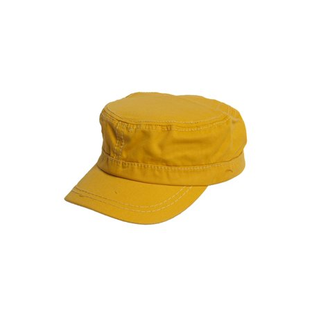 Women's Washed Military Cadet Style Cap - Yellow - Yellow Newsboy Cap