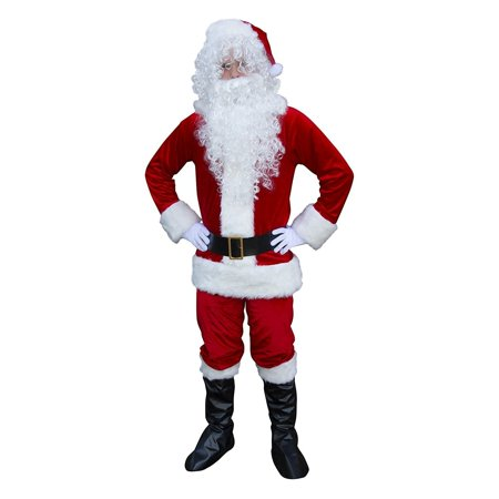 ALEKO Plush Christmas Full Santa Suit Costume With Beard and Wig