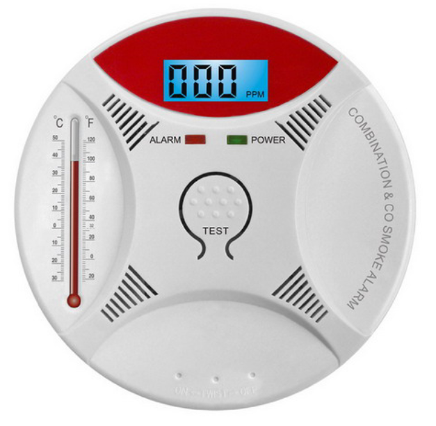 Arzil 2 in 1 Combination Carbon Monoxide CO & Smoke Sensor Detector Sound & Flash Alarm Home Security Warning Gas Smart prompt SMT manufacture technology Battery-Operation