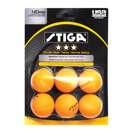 Stiga three star orange table tennis ball pack of 6 for 1 gross table tennis balls