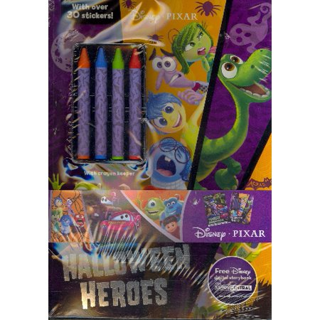 Disney Pixar Halloween 2-Pack Color and Activity Books with 4 Crayons - Family Halloween Activities Dallas