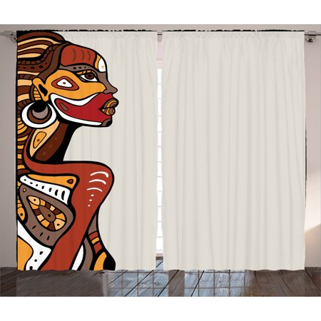 African Curtains 2 Panels Set, Profile of Sexy African Lady with Different Tattoos on Her Body and Face Stylish Print, Living Room Bedroom Decor, Multi, by Ambesonne