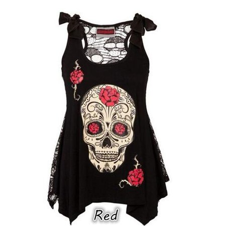 Lace Shift - Women's Fashion Tops Skull Print Loose Lace Patchwork Bandages Casual Sleeveless
