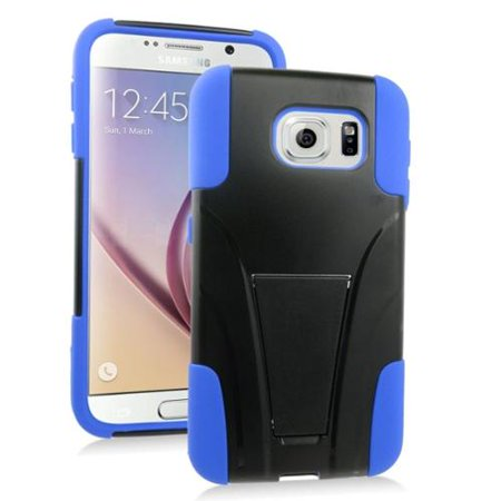 Plastic Dual Stand - Insten Hard Dual Layer Plastic Silicone Case with stand For Samsung Galaxy S6 - Blue