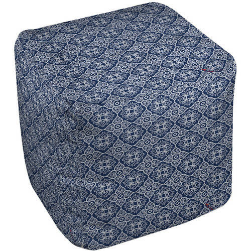 "Thumbprintz Winter Garden Baroque White on Navy Pouf, 18"" x 18"" x 18"""