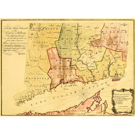 - Old Revolutionary War Map - Plan of the Colony of Connecticut 1766 - 23 x 35.94