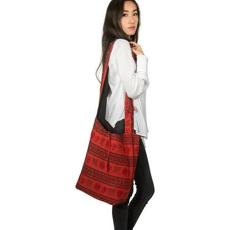 Tribe Azure Hobo Bag OM Symbol Cotton Canvas Large Messenger Handbag Shoulder Comfortable Roomy