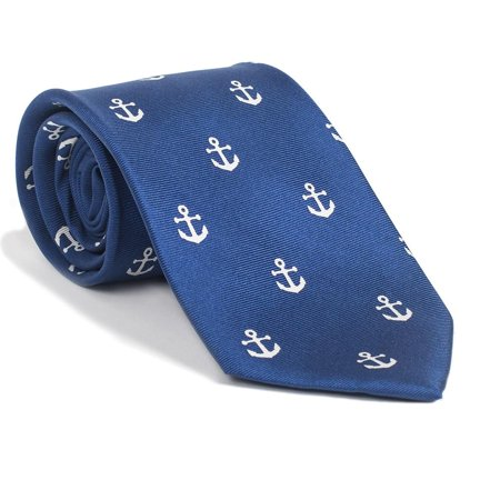 SummerTies Anchor Necktie - White on Navy, Printed Silk, Kids Length
