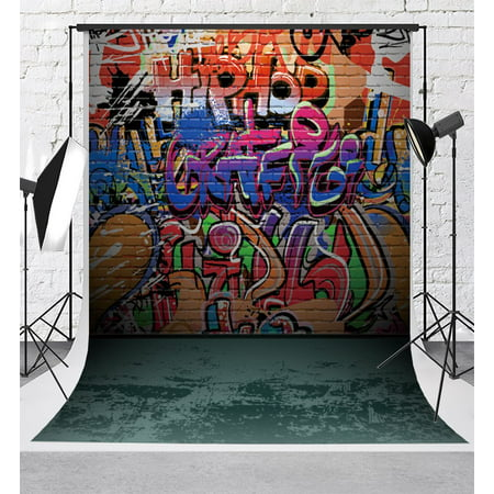 Graffiti Backdrop (HelloDecor Polyster Graffiti Photography Backdrops Colorful Letters Graffiti Wall Background Photo 5x7ft for 90s Party Backdrop)