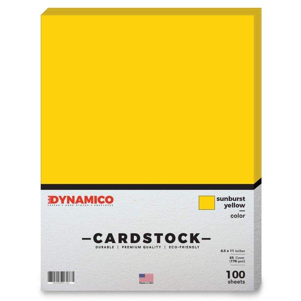 "Sunburst Yellow Cardstock Paper - 8 1/2 x 11"" Medium weight 65 LB (175 gsm) Cover Card Stock ..."