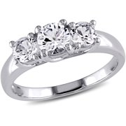 1-1/3 Carat T.G.W. Created White Sapphire 10kt White Gold Three-Stone Engagement Ring