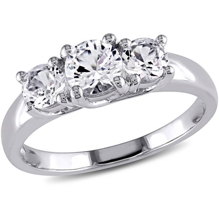 miabella 1 13 carat tgw created white sapphire 10kt white gold three - Three Stone Wedding Rings