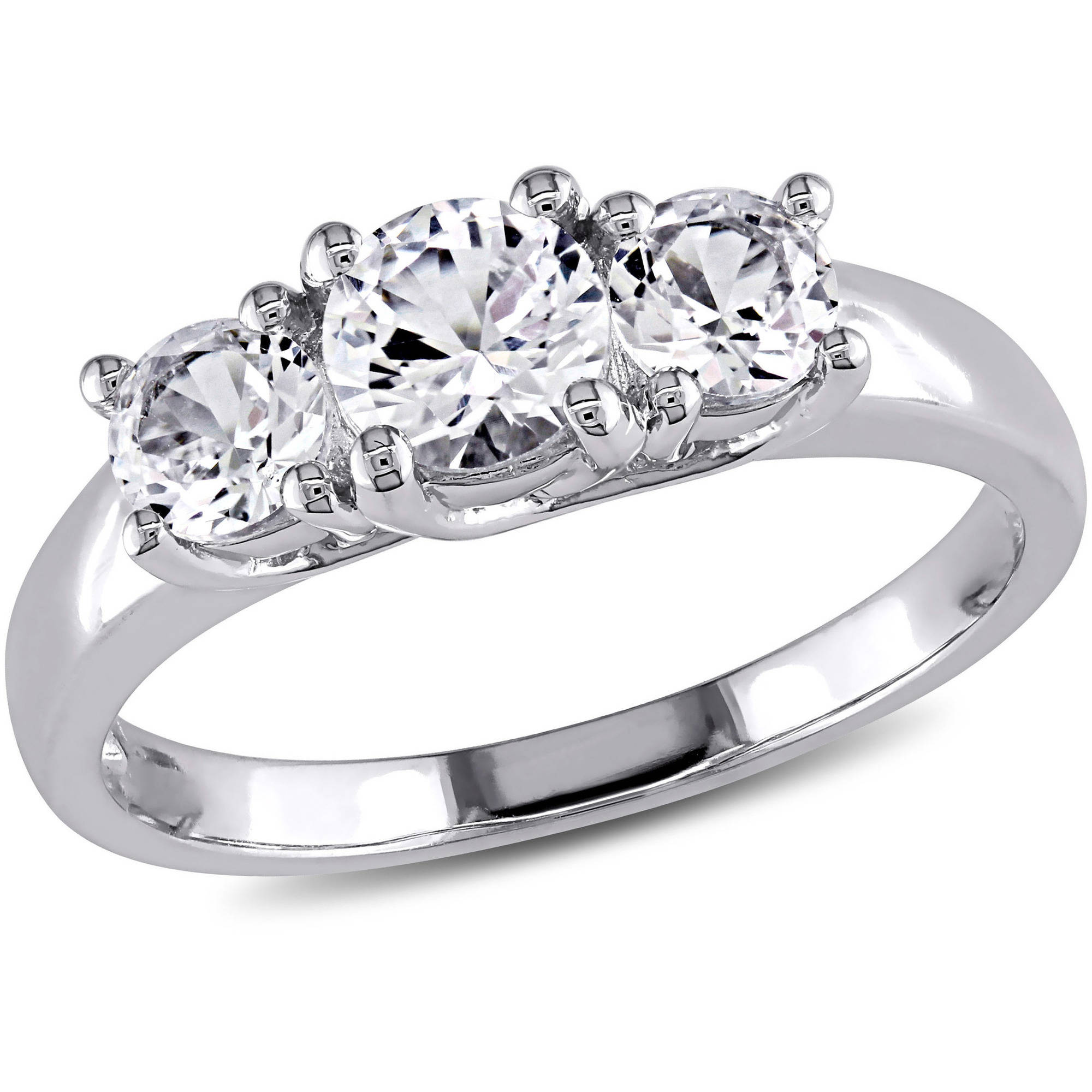 Miabella 1-1/3 Carat T.G.W. Created White Sapphire 10kt White Gold Three-Stone Engagement Ring