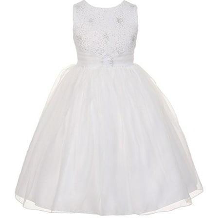 Little Girls Organza Sparkly Elegant Occasion Flowers Girls Dresses White Size 6](White Little Girl Dresses)