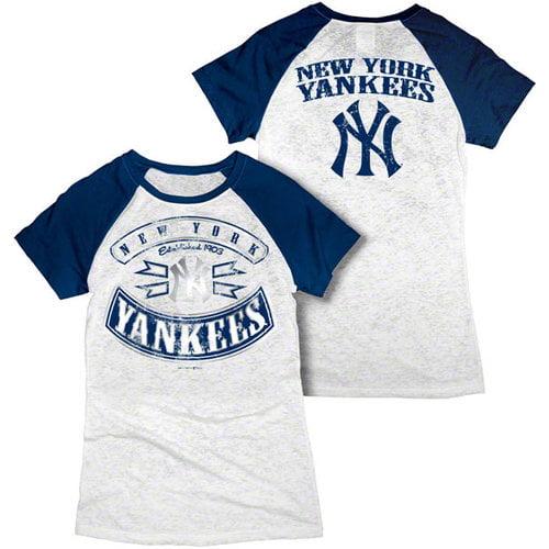 MLB - New York Yankees White Women's Crewneck Burnout Raglan T-Shirt