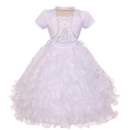 Rainkids Baby Girls White Rhinestones Virgin Mary Embroidery Baptism Dress 6-12M