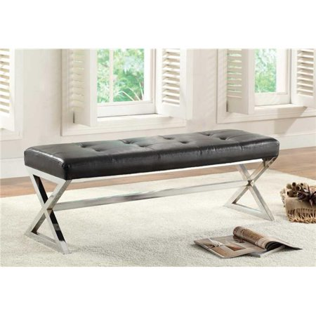 Home Elegance 4605BK 18 x 16.5 x 48 in. Rory Bench with X-Metal Base -