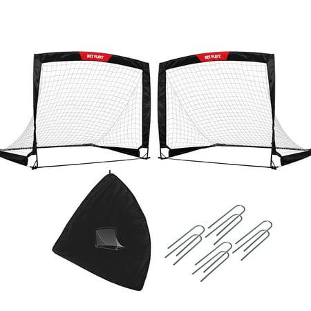 NET PLAYZ Quick Fold-Up Portable Soccer Goal, Set of 2, 4 Ft x 3
