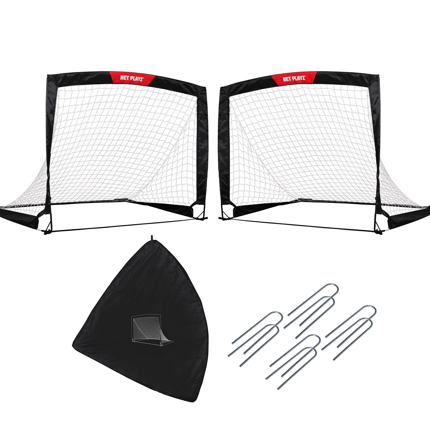 NET PLAYZ Quick Fold-Up Portable Soccer Goal, Set of 2, 4 Ft x 3 Ft