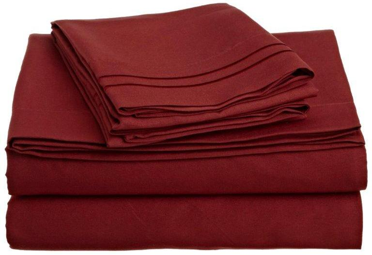 Clara Clark 1200 Series Deep Pocket 4pc Bed Sheet Set Queen Size, Burgundy  Red