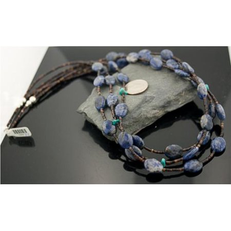 Large Authentic 3 Strand Made by Charlene Little Navajo Native .925 Sterling Silver LAPIS and Turquoise Native American Necklace