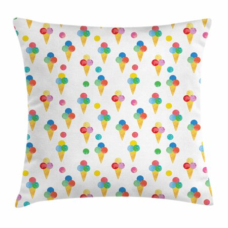 Ice Cream Throw Pillow Cushion Cover, Yummy Refreshments of Summertime Triple Scoops on Waffle Cones with Grungy Look, Decorative Square Accent Pillow Case, 18 X 18 Inches, Multicolor, by Ambesonne