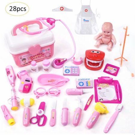 Doctor Dress Up Kids (28PCS Medical Doctor Kit Toys for Kids Learning Resources Pretend Play Doctor Play Set for Kids Holiday Gifts, School Classroom Roleplay Costume Dress-Up Toy)