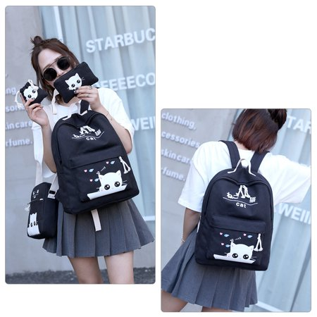 Chic Canvas Backpack Set 4-in-1 Shoulder Bags Casual Student Daypack for Teenage Girls, Cute Cat Pattern, Black - Accessories For Teenage Girls