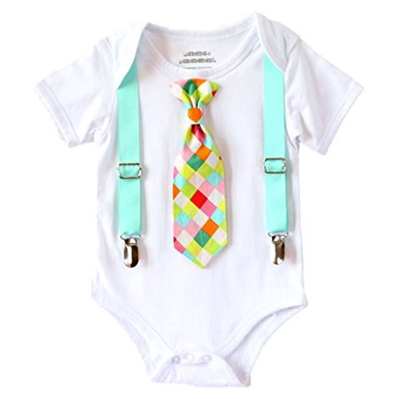 Walmart Baby Boy Clothes New Noah's Boytique Baby Boy Clothes With Tie Neon Aqua Suspenders And
