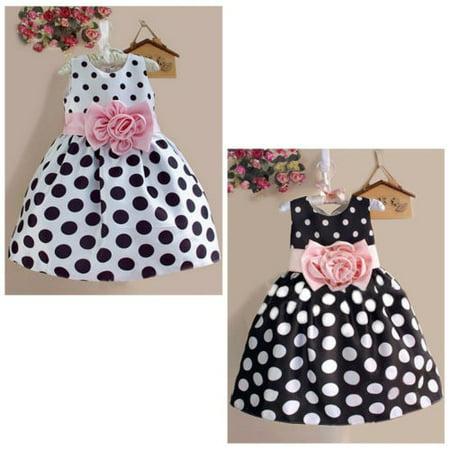 Hot Baby Kids Girls Party Wedding Polka Dot Flower Gown Formal Dress 2-7Y (Black And Hot Pink Flower Girl Dresses)
