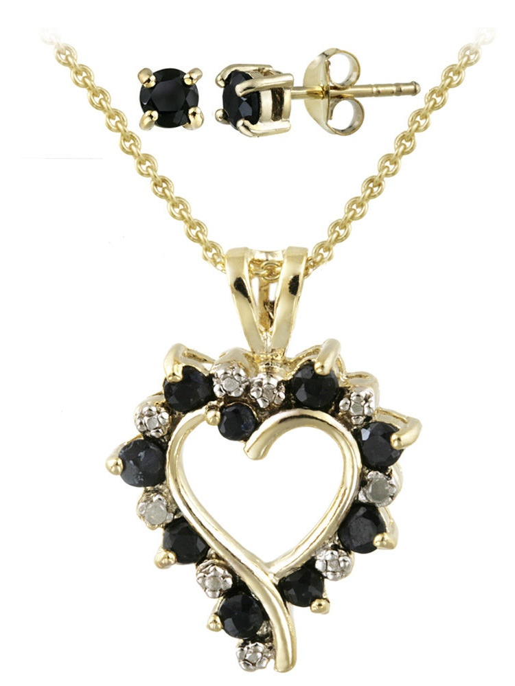 Gold Over Silver Diamond Accent Heart Necklace and Earring Set
