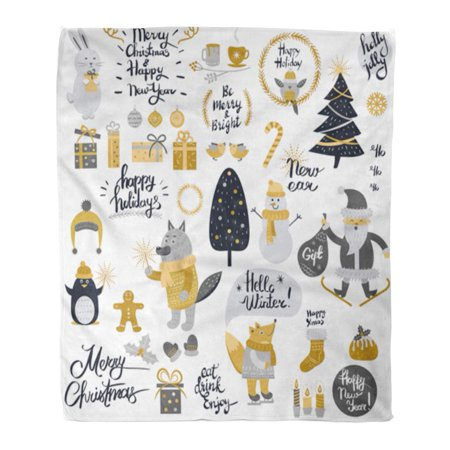 POGLIP Throw Blanket 58x80 Inches Christmas Cartoon New Year Characters Collection of Xmas in Silver and Golden Warm Flannel Soft Blanket for Couch Sofa Bed - image 1 of 1