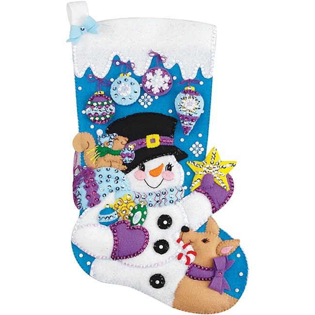 Janlynn Felt Applique Frostys Ornament Collection Christmas Stocking