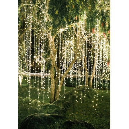 Perfect Holiday 300 led Window Curtain Icicle Lights String Fairy Light Wedding Party Home Garden Decorations 3m*3m, Warm White ()