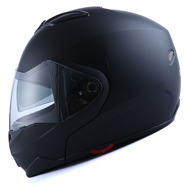 1Storm Motorcycle Street Bike Modular/Flip up Dual Visor/Sun Shield Full Face Helmet Matt Black